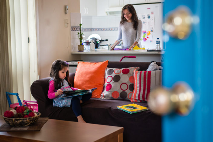 mum and daughter relax in their house during lifestyle photo session in eastern suburbs