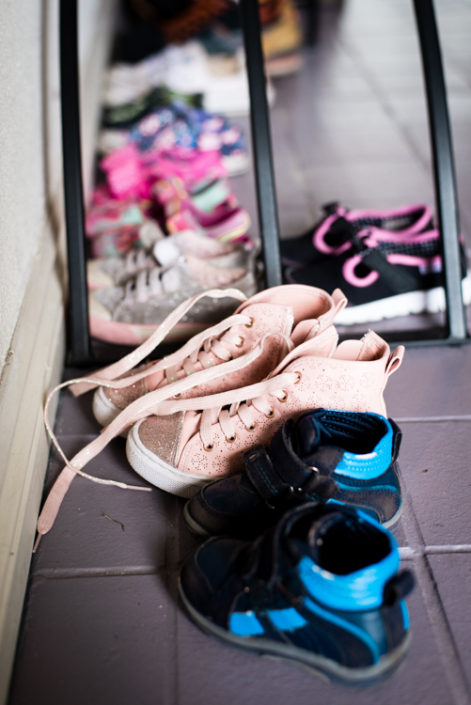 child shoes in hallway at a lifestyle photo session in heathmont City of Maroondah